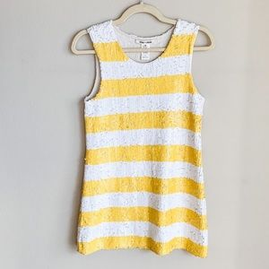 Alice + Olivia yellow striped sequin dress